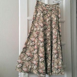 Vtg. Floral Maxi Button-Front Skirt